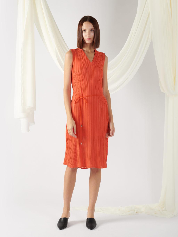 pleated dress with waist belt