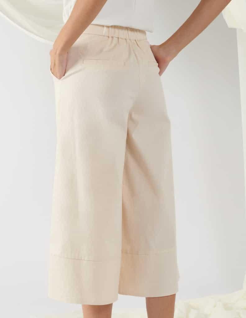 wide-leg trousers in light beige