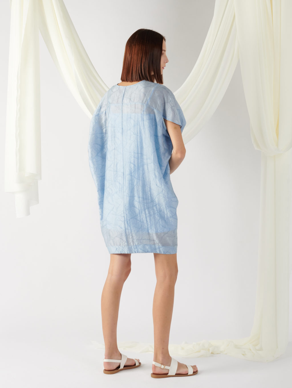 v-neck textured dress in light blue